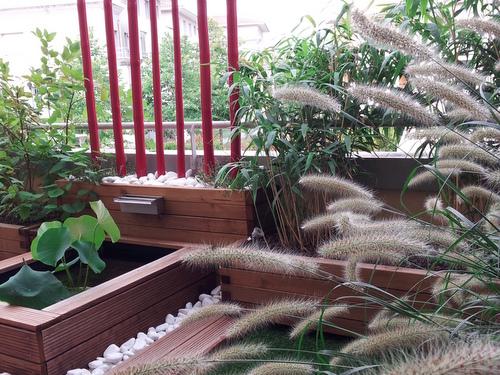 Aménagement de balcon, avec un bassin.